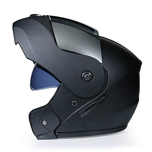 IAMZHL 2020 Rennhelm Modularer Doppelobjektiv-Motorradhelm Klapphelm Helme Casco Capacete Casque Moto S.-Matte black3-1-L