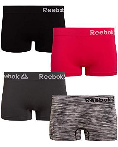 Reebok Women's Seamless Performance Boyshort Panties with Logo Waistband (4 Pack), Pink/Black/Grey/Black Spacedye, Size Medium