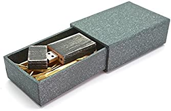 Maple Wooden Antique Style 8GB Flash Drive - Natural Eco Vintage Collection USB 2.0 8 GB Thumb Drive - Stained in Nightshade Black - Super strong hand made 2 piece paper box with Raffia grass inside