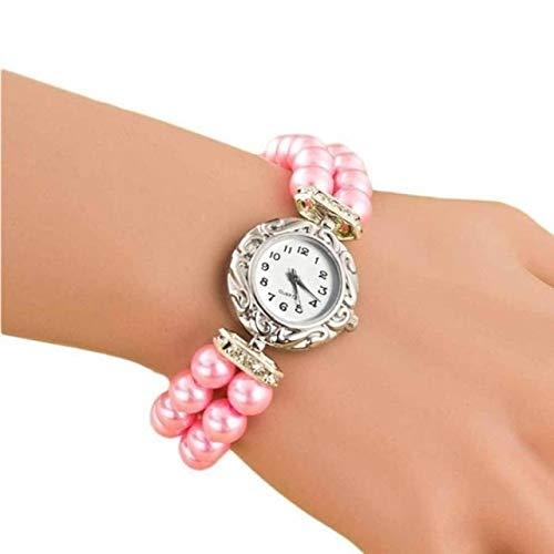Uhren Frauen-Perlen-Quarz-Armbanduhr (blau) Asun (Color : Pink)