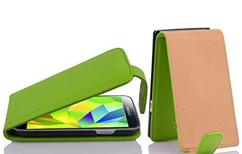 Cadorabo Hülle für Samsung Galaxy S5 Mini / S5 Mini DUOS - Hülle in Apfel GRÜN – Handyhülle aus Strukturiertem Kunstleder im Flip Design - Hülle Cover Schutzhülle Etui Tasche