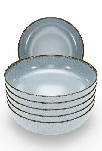 Müslischalen Set 6-tlg. - Schüsseln Porzellan in Modernem Rustikalem Design in Blau - Ideal als Suppenschüsseln, Dessertschalen, Cornflakes Schüssel Set - Müslischalen Porzellan von Pure Living