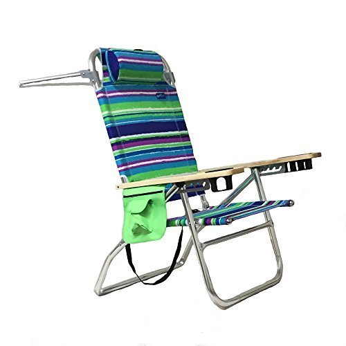 Easy in Easy Out Lays Flat 5 Position Aluminum Sand Chair (White, Purple, Gree, Blue Stripes) Pkg/1