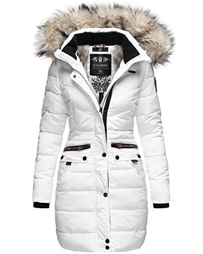 Navahoo Damen Winter Jacke Mantel Parka warm gefütterte Winterjacke B383 [B383-Paula-Weiss-Gr.XXL]