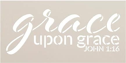Grace Upon Grace by StudioR12 | John 1:16 | Reusable Mylar Template | Paint Wood Sign | Craft Christian Bible Verse Gift | DIY Song Lyrics Cursive Faith Quote Inspiration | Select Size (9
