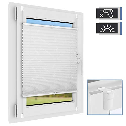 BelleMax Plissee ohne Bohren klemmfix Jalousie Blickdicht Faltrollo Sichtschutz und Sonnenschutz Schalosien für Fenster & Tür Weiß 80 x 100 cm(BxH)