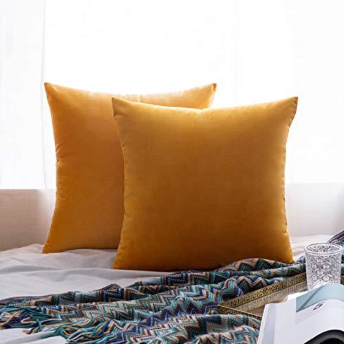Miwaimao 26Colors almohada buque terciopelo funda de asiento de la sala de estar sofá almohadilla conjunto de color sólido funda de almohada de la funda de almohada-coche-30cmX50cm, 4