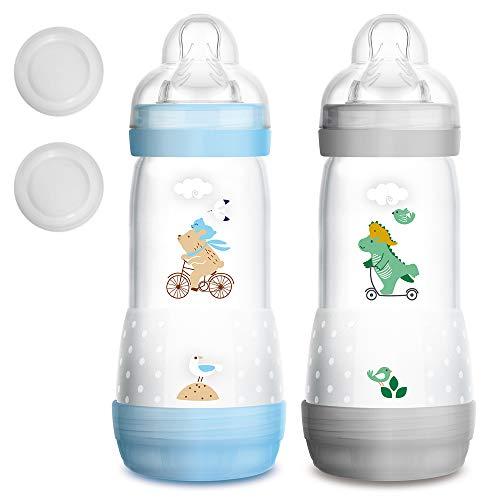 MAM Sparset 2er Pack Anti-Colic Babyflasche 320 ml mit Anti-Kolik Easy Start Flaschen Set BOYS