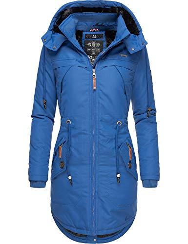 Marikoo Damen Winterparka Wintermantel mit Abnehmbarer Kapuze Kamii Blau Gr. XL