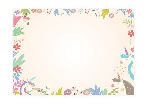 Friendly Fox Einhorn Schreibtischunterlage Papier - XXL Notizblock - A2 Block aus Papier zum Abreißen - 25 Blatt - Schreibtisch Organisation - rosa pink Schreibtischunterlage Kinder Mädchen Teenager