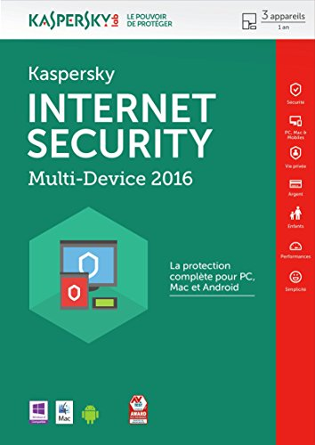 Kaspersky internet security 2016 (3 postes, 1 an)