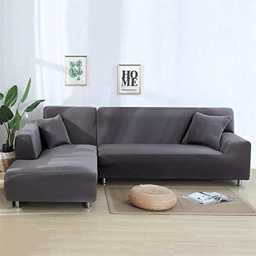 chinejaper - Funda de sofá en Forma de L, elástica para sofá de Piel, Color Gris