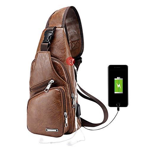 Men Chest Bag,Leather Sling Shoulder Backpack,Anti Theft Water Resistant Crossbody Bag with USB Charging Port (Light brown)