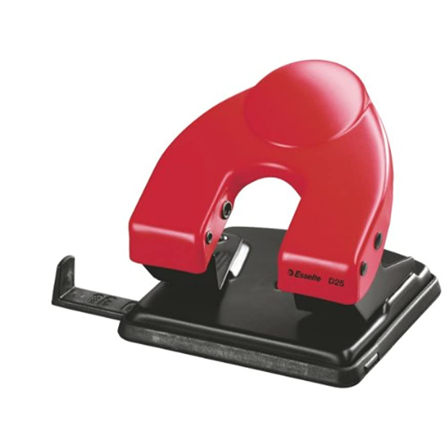 Leitz 177017 Hole Punch D25 for 25 Sheets at a Time with Stop Bar Red