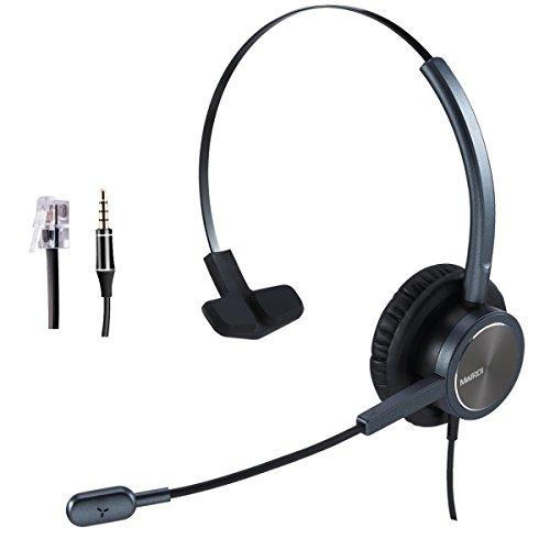 Telefon Headset mit Mikrofon für Cisco Festnetztelefonen, Mono Office CallCenter Kopfhörer mit RJ9 Klinke für Jabra Cisco 7841 7942 7960 7961 7962 8841, mit 3,5mm Adapter für Handy PC Laptops