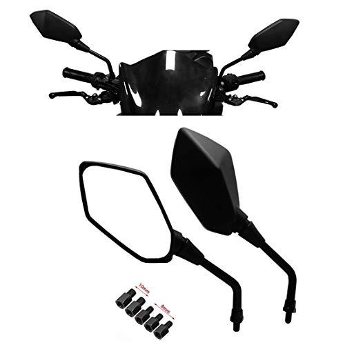 kemimoto Universal Motorcycle Mirrors, kemimoto M8 M10 Threaded Bolt Double Take Mirror,Compatible With Scooter, ATV Kawasaki, Suzuki, Victory