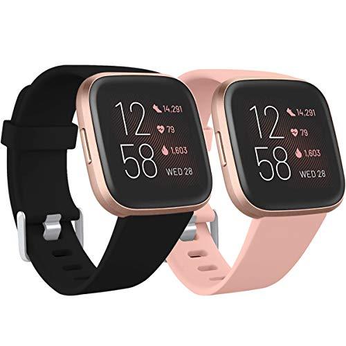 Ouwegaga Kompatibel für Fitbit Versa Armband/Fitbit Versa 2 Armband, Weiches Silikon Ersatz Armband Kompatibel mit Fitbit Versa Lite Armband, Damen Herren Klein, Schwarz/Pink