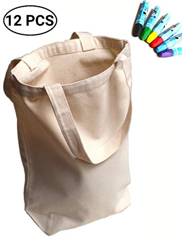 UpBrands 12 Pack Canvas Tote Bag DIY Kit Pure Color Suitable for Party Favors, Gift, Goodie Bags, Small Shopping Grocery (Sturdy 10 Oz), Mother's Day and Teacher's Gift Idea