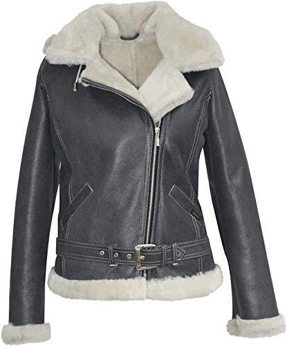 Hollert Damen Lammfelljacke Jessy GRAU Bikerjacke 100% Merino Schaffell Winterjacke mit Abnehmbarer Kapuze Größe XXL