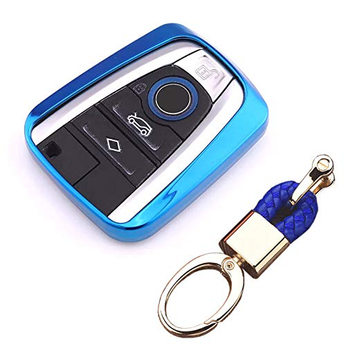 Royalfox(TM Luxury Soft TPU Smart 4 Buttons Key Fob case Cover for BMW i3 i8 2014 2016 2017 with Keychain Key Ring BMW i Key Cover (Blue)