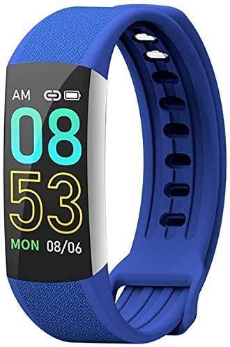 JIAJBG Fitness Tracker Smart Fitness Tracker reloj pulsera inteligente, 0.96 pulgadas pantalla deportes fitness Tracker monitor de paso pulsera inteligente deporte fitness Tracker moda azul