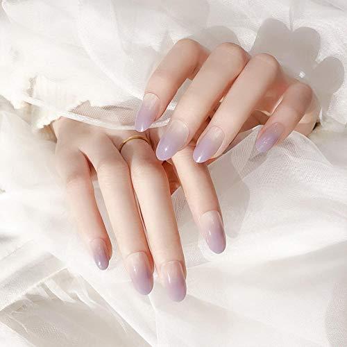 False Nails 24pcs/Box Charming Fake Nails Press on Purple Design Women Decoration Tools Full Cover Round Head Nail Tips