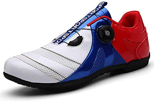 Scarpe da Bicil Scarpe da Bici da Strada, Scarpe da Bici Unisex Senza Lucchetto, Sneaker da Mountain Bike con Fondo Rigido E Scarpe da Mountain Bike Traspiranti (37,Bianco Blu Rosso)