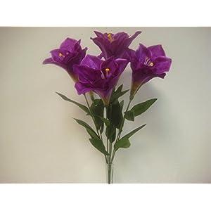 Phoenix Silk Purple Deluxe Amaryllis Bush Satin Artificial Flowers 25″ Bouquet 7-1785 PU