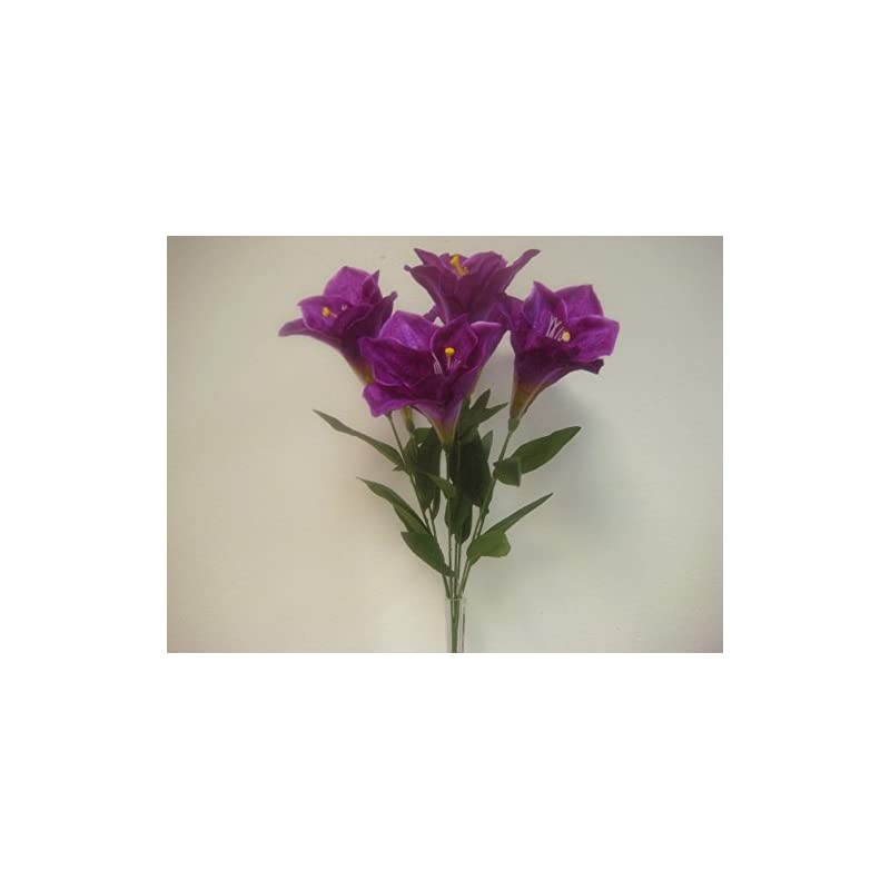 "silk flower arrangements phoenix silk purple amaryllis bush satin artificial flowers 23"" bouquet 7-781pu"