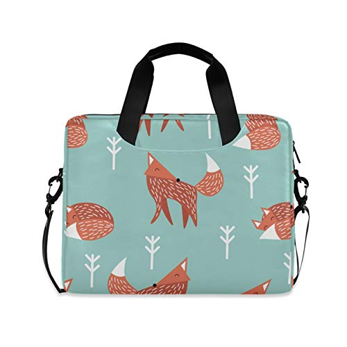 Cute Fox in Winter Laptop Case Bag Sleeve Portable Crossbody Messenger Briefcase Attache Casew/Strap Handle, 13 14 15.6 inch