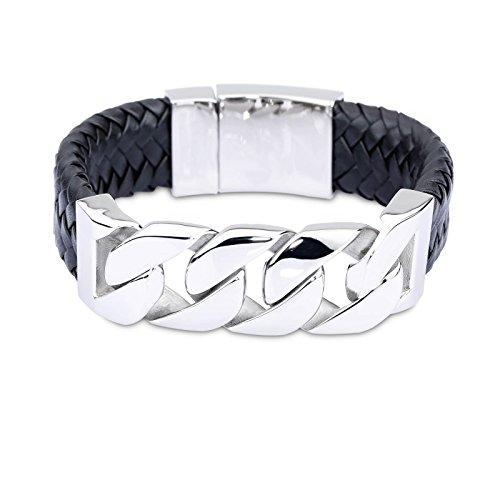 copaul joyas hombre de pulsera, de ancho brazalete, cuero acero inoxidable, color negro plata