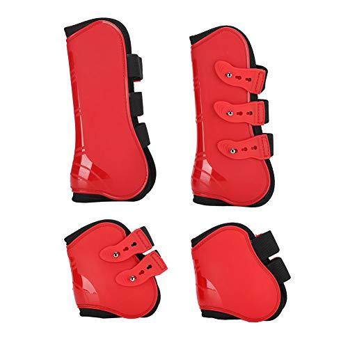PU + Neopreno Bota de Pata Trasera Ajustable Bota de Pata de Caballo Suave, Protector de Pata de Caballo, Protector de Pata Delantera para Montar a(Universal Tuba, Set of Red Front and Rear)