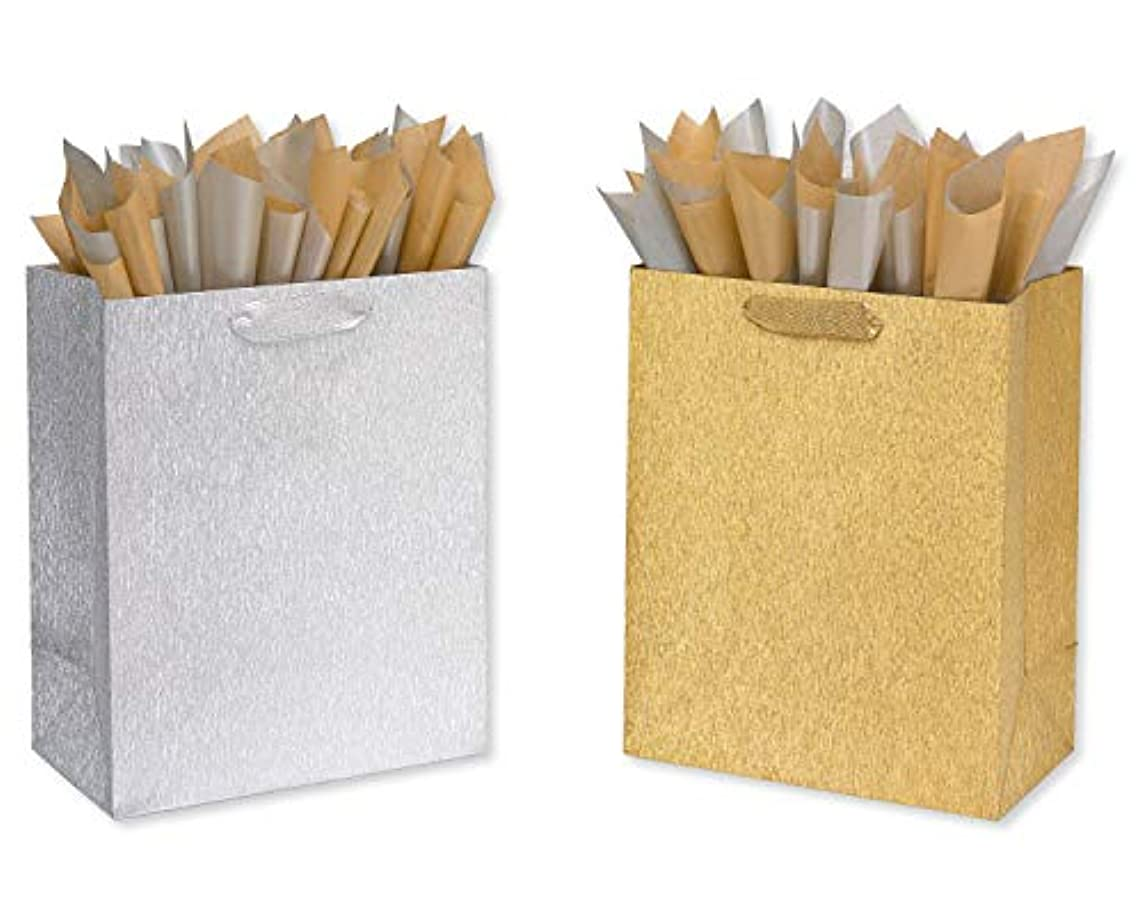 Papyrus 6162420 Brushed Metallic Gift Bag and Tissue, 3-Count, Assortment 1