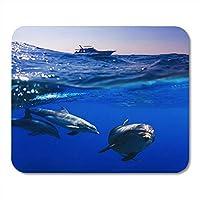 マウスパッドラバーミニレクタングル水中ライン水中ライン分割3頭のイルカ水中で泳ぐダイビングゲームノートブックコンピューターアクセサリーバッキング