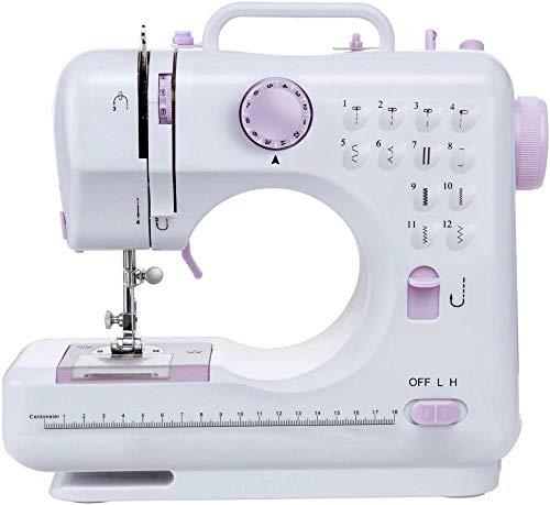 Yuaer Máquina de coser multifuncional con mini máquina de bordar portátil de 12 pines y 2 velocidades incorporada para herramientas de costura domésticas, tamaño: 28 * 12 * 24 cm