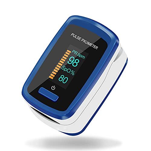 Pulsoximeter für Finger-Sauerstoff-Messgerät, Finger-Oximeter-Messgerät misst die Sauerstoffsättigung Pulsfrequenz, Blutoximeter mit OLED-Anzeige, Alarmfunktion und Schwerkraftsensor