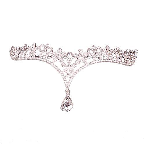 Lurrose Braut Kopf Kette Stirn Stirnband Schmuck Kopfschmuck Haarschmuck für Hochzeit (Silber)
