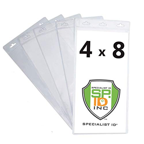 """Bulk 50 Pack - Extra Large 4"""" X 8"""" Clear Plastic Ticket Holders (Really Big) 4X8 Inch Big Credential ID Protector Sleeves for Sporting Events and Concerts - 3 Top Lanyard Slots to Work w Any Lanyard"""