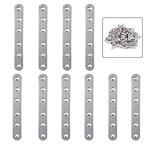 Magiin 10 Stkück Flache Platte Halterung Zahnspange aus Edelstahl, Flachverbinder Holzverbinder mit 60 Schrauben, perfekt für Tisch, Holzbett, Fenster, Schranktür