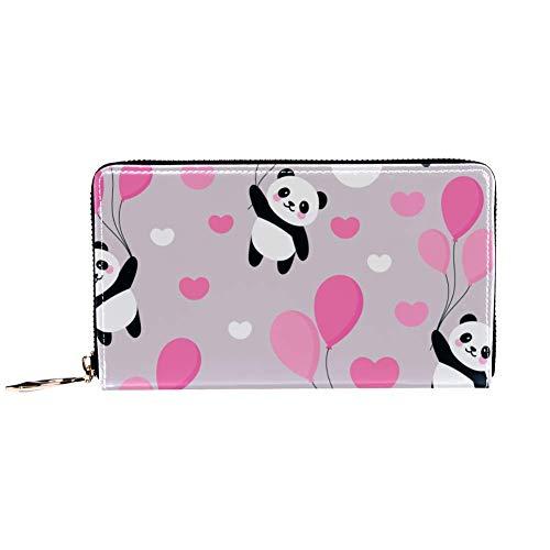 XCNGG Leder Geldbörse Panda und rosa Ballon Brieftaschen Kartenhalter Clutch mit vielen Taschen für Frauen Männer Mädchen Jungen Jungen kleine kompakte Brieftasche Bifold