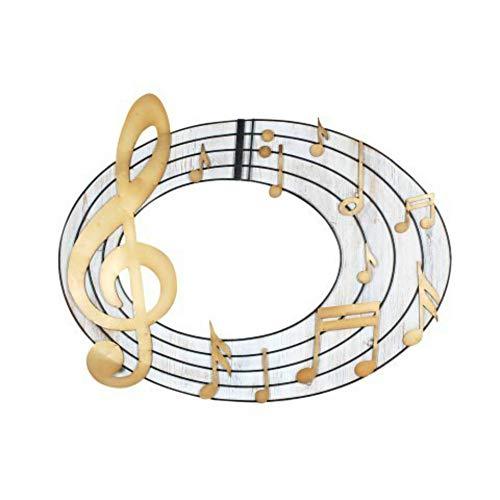 CAPRILO. Adorno Pared Decorativo de Metal y Madera Pentagrama-Notas Musicales. Cuadros y Apliques. Decoración Hogar Regalos Originales. 65 x 80 x 1.5 cm.