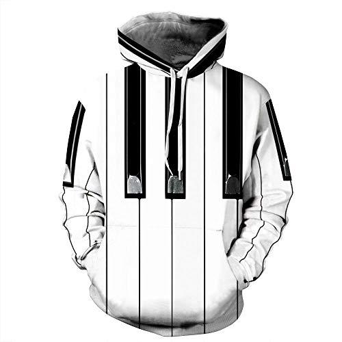 yyqx container Neutraal Hip Hop Sweatshirt Paar 3D Digitale Print 3D Patroon Geschikt voor Sport Thuis Buiten Zacht Comfortabel Ademend Wit Piano Key 3D Hoodie