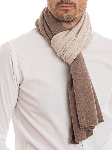DALLE PIANE CASHMERE - Sciarpa bicolore 100% cashmere - Uomo, Colore: Beige, Taglia unica