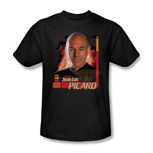 Star Trek - St: Next Gen / Captain Picard Erwachsene T-Shirt in schwarz, Small, Black