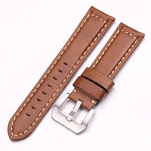 Banda de Repuesto Correa de reloj de reloj de cuero retro hecho a mano 22 mm 24 mm Cinturón de la banda de reloj de color marrón oscuro con hebillas de acero inoxidable de plata Para Hombres / Mujeres