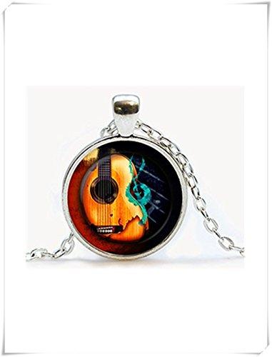 Gitarren-Musik-Anhänger, Gitarren-Halskette, Musikinstrument, kuppelförmiger Glasschmuck, reine Handarbeit