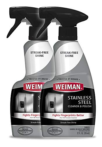 Weiman Stainless Steel Cleaner and Polish - 12 Ounce (2 Pack) - Removes Fingerprints, Residue, Water Marks and Grease from Appliances - Refrigerators Dishwashers Ovens Grills - 24 Ounce Total