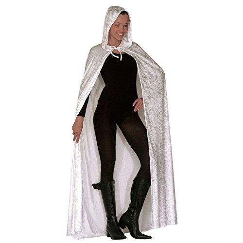 NET TOYS Mantello Chiaro Bianco Velluto 150 cm Cappa Cappuccio Giochi di Ruolo Carnevale Veneziano Halloween Costume Fantasma - 150 cm