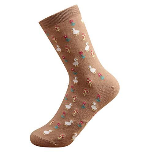 Zegeey Damen Sneaker Socken Cartoon SüßE Design Warme Wintersocken Hausschuhsocken LäSsige Socken Atmungsaktiv Komfortbund Fitness Lauf Joggen Sportsocken 1 Paar(Kaffee)