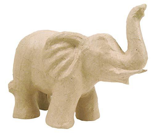 Décopatch SA108O Träger S aus Pappmaché, Elefant, 21 x 12 x 17 cm,  zum Verzieren, Kartonbraun